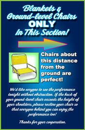 an image indicating low chairs used in the blankets section of the theatre should be about 4 inches from the ground
