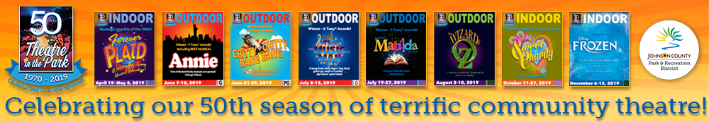 The Theatre In The Park logo, show production logos for the current Theatre In the Park season, and Johnson County Park and Recreation District logo.